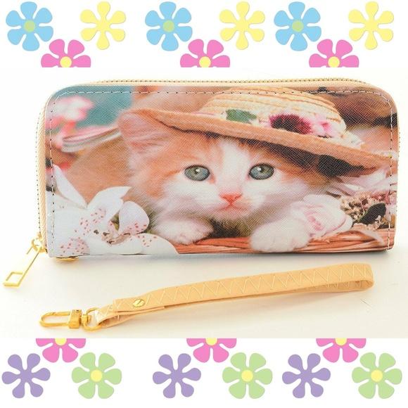 Handbags - Kitten Hat Cute Bi-Fold Vegan Leather Wallet Wrist